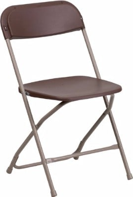 Flash Furniture 800 lb. Premium Brown Plastic Folding Chair