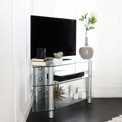 Walker Edison 44 Glass Corner TV Stand, Silver