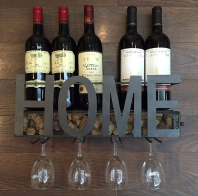 #4 Wall Mounted Metal Wine Rack 4 Long Stem Glass holder