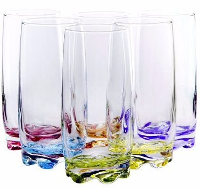 #5 Vibrant Splash WaterBeverage Highball Glasses