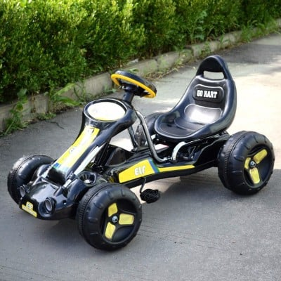 #7 JAXPETY Go Kart Kids Ride 4 Wheel on Car Stealth Pedal, Black