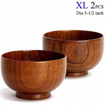 cospring set of 2 solid wood bowl