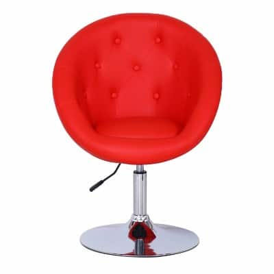 Joveco Egg Chair Shape Leatherette Button - Red__