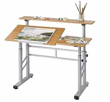 Drafting Table Desk Costway Adjustable Top Drawing