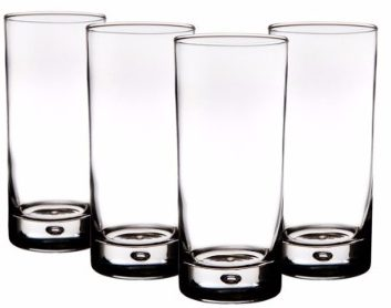 #8 Home Essentials Red Series Bubble 17oz Highball Glass, Set of 4