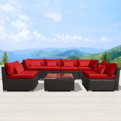 Modenzi 7G-U Patio Furniture Espresso Brown Sofa Set (Red)__