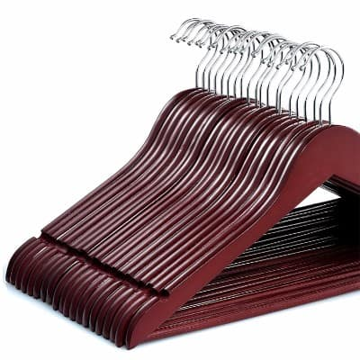 Zober Solid Cherry Wood Suit Hangers, 20 Pack