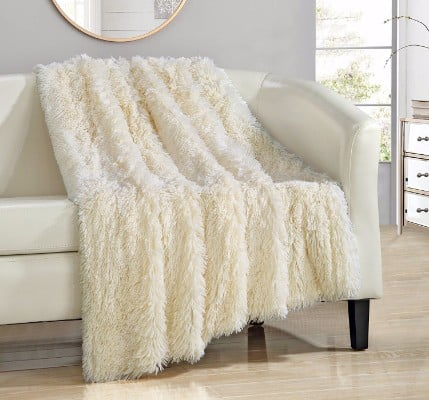 Chic Home Elana Shaggy Faux Fur Supersoft Ultra Plush Throw Blanket, 50 x 60, Beige