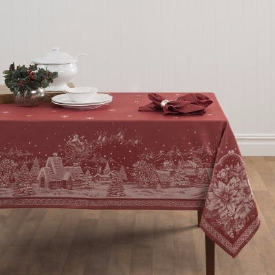 Benson Mills Christmas Story Engineered Jacquard Fabric Tablecloth