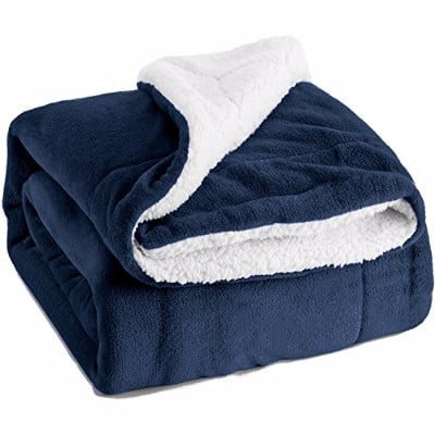 Sherpa Throw Luxury Blanket Navy Blue 50x 60 Reversible Fuzzy