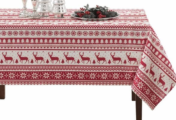 BENSON MILLS Nordic Christmas Herringbone Christmas Tablecloth