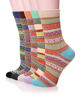 Color City Women's Multi-Color Wool Winter Socks-5 Packs