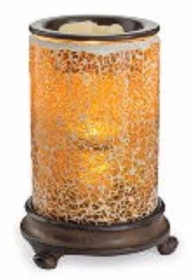 Candle Warmers Etc. Crackled Amber Glass Mosaic Illumination
