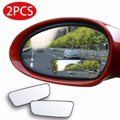 Rectangle 2 PCS Blind Spot Mirro HD Glass Convex Lens Frameless Adjustable for All Universal Vehicles Car Stick-on Design 2 Pack