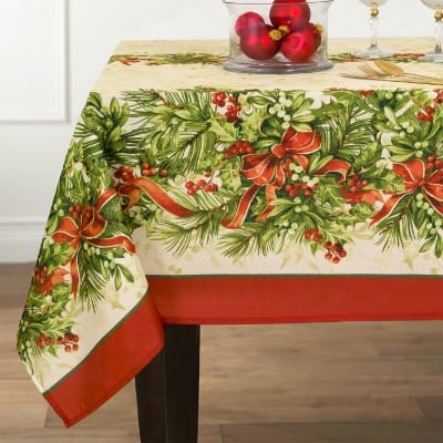 Holly Ribbon Traditions Fabric Christmas Holiday Tablecloth