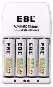 EBL AA 2000mAh Ni-MH Rechargeable Batteries, 4 Packs