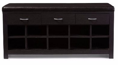 Baxton Studio Entryway Shoe Bench, Espresso