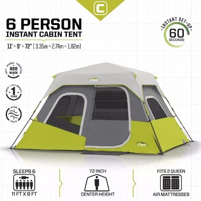 CORE Instant Cabin Tent, 6 Person, 11' x 9.'