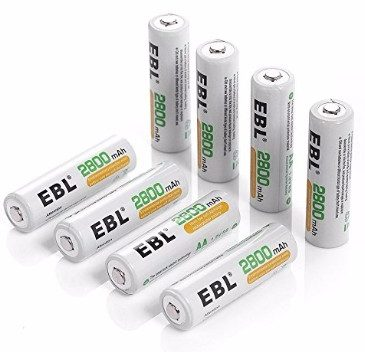 EBL High Capacity 2800mAh Ni-MH Rechargeable AA Batteries, 8 Pack