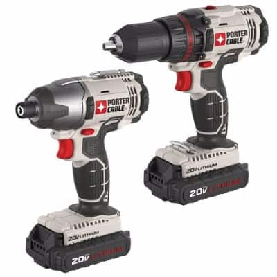 PORTER-CABLE PCCK604L2 Cordless Drill, 20V Lithium-Ion