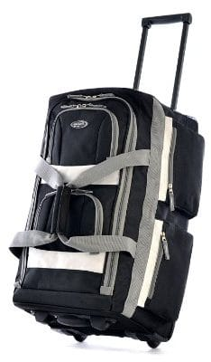 Olympia Luggage 22_ 8 Pocket Rolling Duffel Bag, Black, One Size