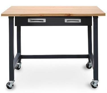 Seville Classics Ultra Graphite Wood Top Workbench on Wheels with Organizer Drawer