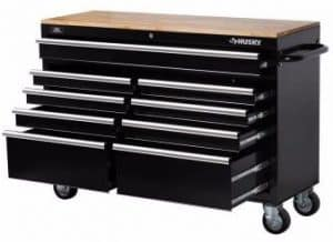 Husky 9-Drawer Mobile Rolling Workbench, Black