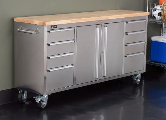 Trinity Stainless Steel Rubberwood Top Rolling Workbench