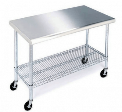 SM Stainless Steel Rolling Work Table, 49-inch