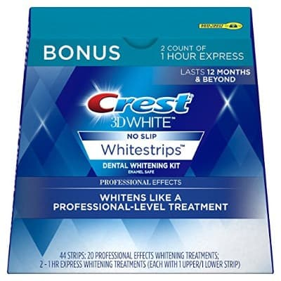 Crest 3D White Professional Effects Whitestrips Whitening Strips Kit, 22 Treatments