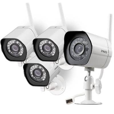 Zmodo Wireless Security Camera Smart HD Outdoor Cameras with Night Vision – 4 Pack