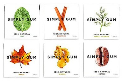 Simply Gum, Vegan, Non GMO Assorted Natural Chewing Gum, 90 Pieces (6-Pack)