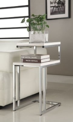 eHomeProducts Chrome Snack End Table, White Finish