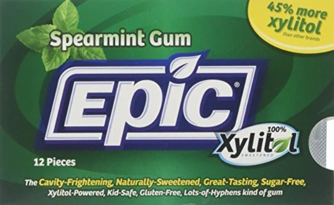 Epic Dental 100_ Xylitol Sweetened Gum, 12 Count, Spearmint
