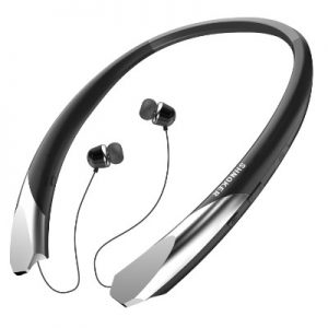 SHNOKER Bluetooth V4.1 Neckband Headsets with Retractable Earbuds (Black)