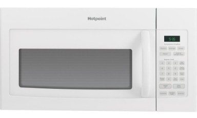 GE RVM5160DHWW Hotpoint Over-The-Range Microwave Oven, 1.6 Cubic ft., 950W