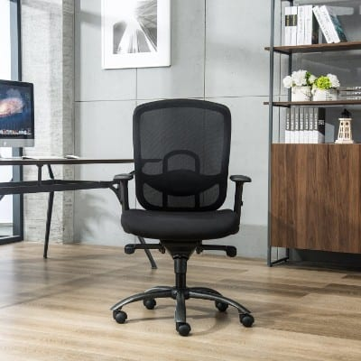 LONGEM Mid Back Mesh Reclining Office Chair, Black
