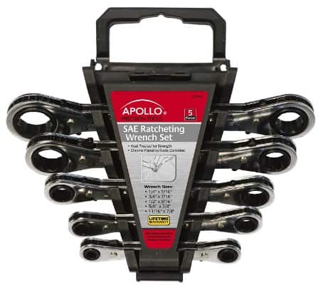 Apollo Tools DT1212 SAE 5-Piece Ratcheting Wrench Set