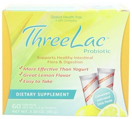 Threelac Natural Lemon Flavor Probiotic Dietary Supplement