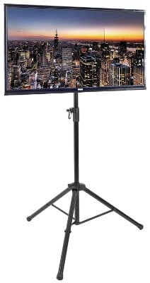 VIVO Tripod TV Portable Height Adjustable Floor Stand for 32- 55 Flat Screens, Black
