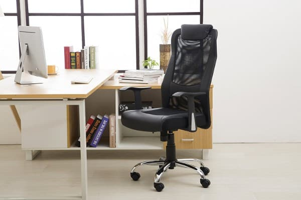 LCH High Back Office Chair with Leather Headrest, Black