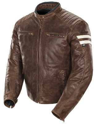 Joe Rocket Classic '92 Leather Motorcycle Jacket for Men (Large, Brown:Cream)