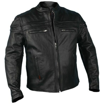 Hot Leathers JKM1011, Heavyweight Leather Jacket for men, (Black, Large)