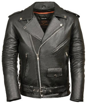 Milwaukee Leather Classic Police Style Leather Motorcycle Jacket (Medium, Black)
