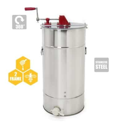 2-Frame Stainless Steel Honey Extractor, Honeycomb Drum Bee Honey Harvest w Uncapping Knife