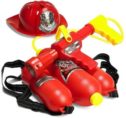 Prextex Fireman Backpack Water Gun Blaster with Fire Hat- Water Gun