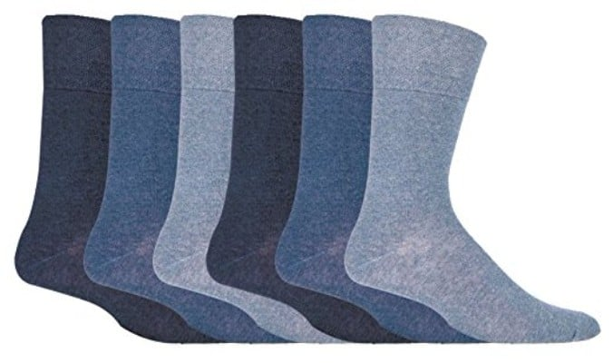 IOMI - 6 Pack Mens Thin Non Binding Extra Wide Loose Top Cotton Diabetic Socks