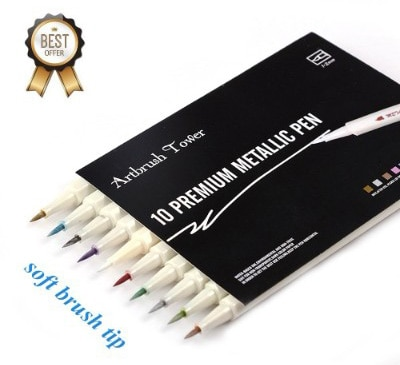Metallic Calligraphy Brush Marker Pens - Set of 10 Colors