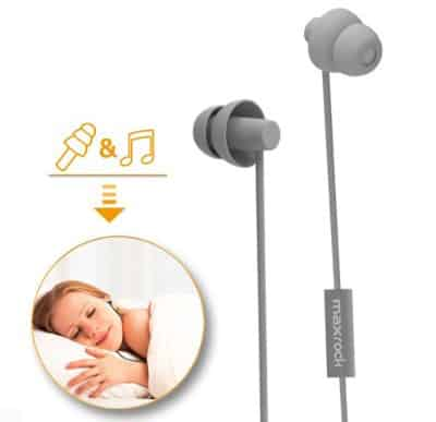 MAXROCK Sleeping Headphones, In-ear Soundproof Earplug Soft Earbuds