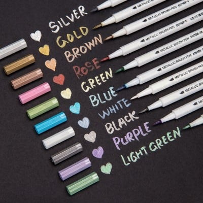 Bianyo Metallic Brush Marker Pens, 10 Colors Calligraphy Pens